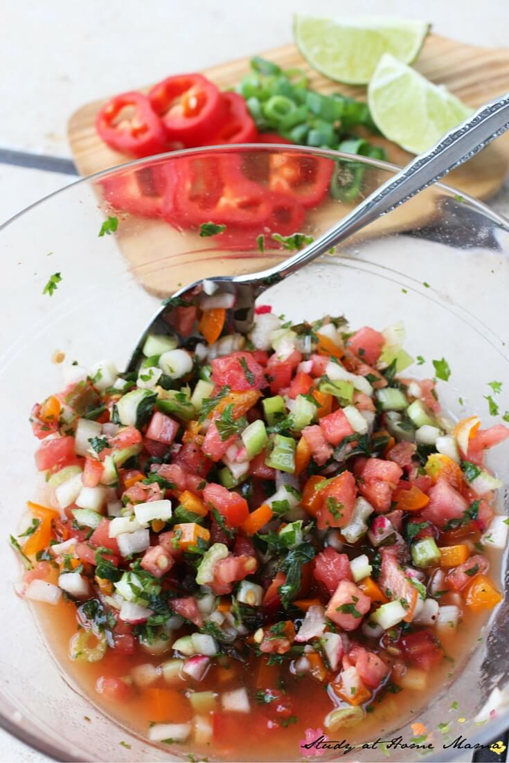 This fresh salsa recipe comes together in less than five minutes and is the perfect fresh topping for any meal, especially those packing a bit of heat.