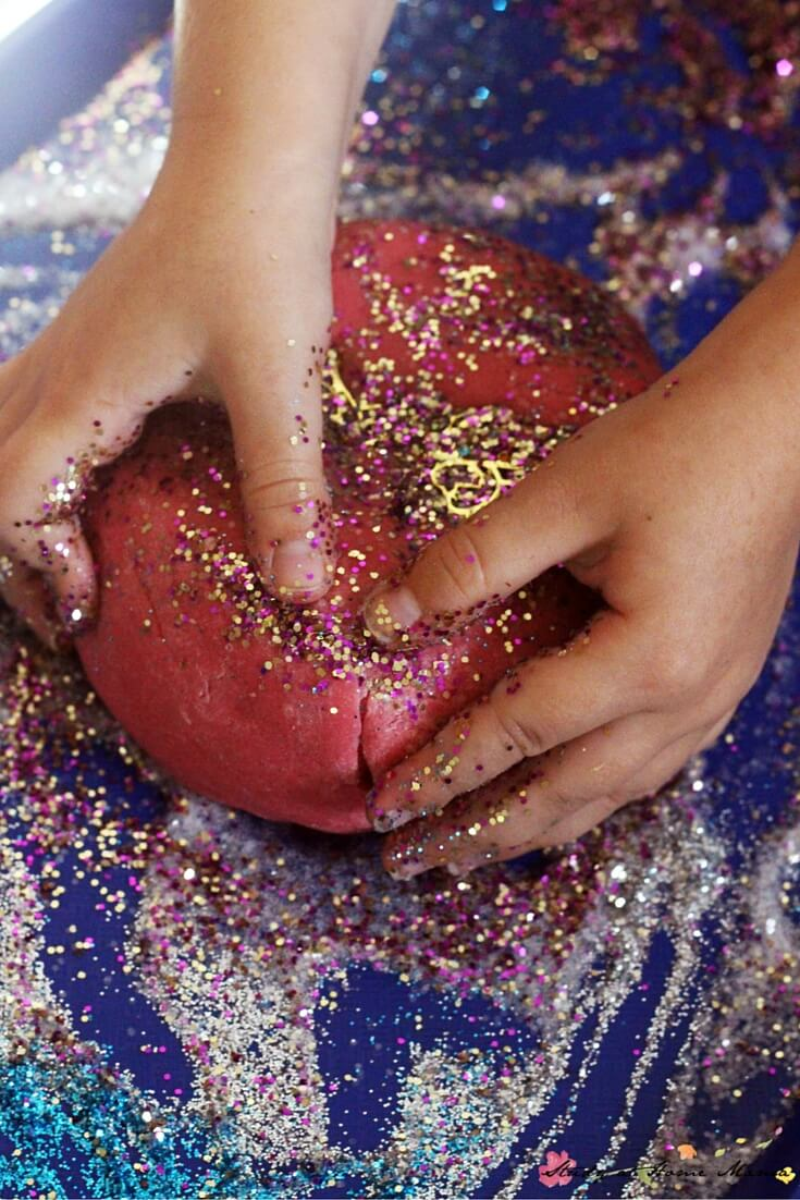 Sparkly Fairy Dust Play Dough - homemade play dough recipe for sparkle play dough