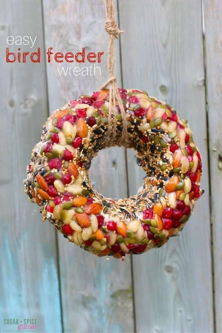 Kid-Made Bird Feeder Wreath