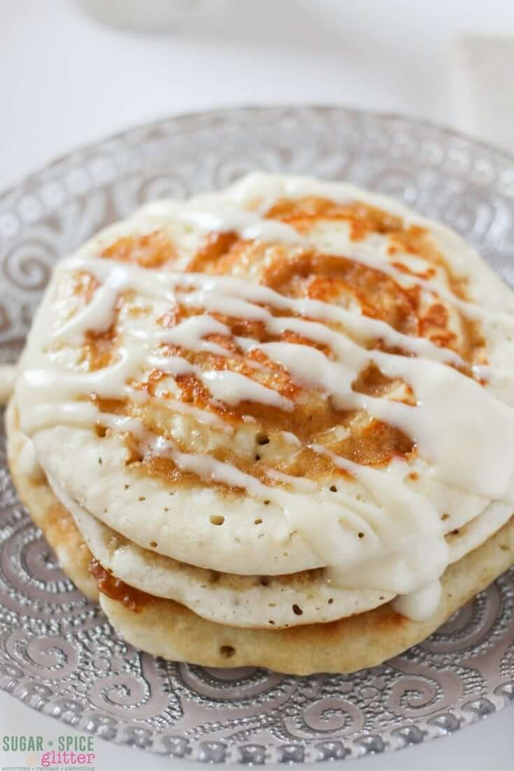 Oh yum - that cream cheese drizzle, the cinnamon-sugar swirl. These cinnamon bun pancakes look amazing! Definitely making these for my next brunch guests.
