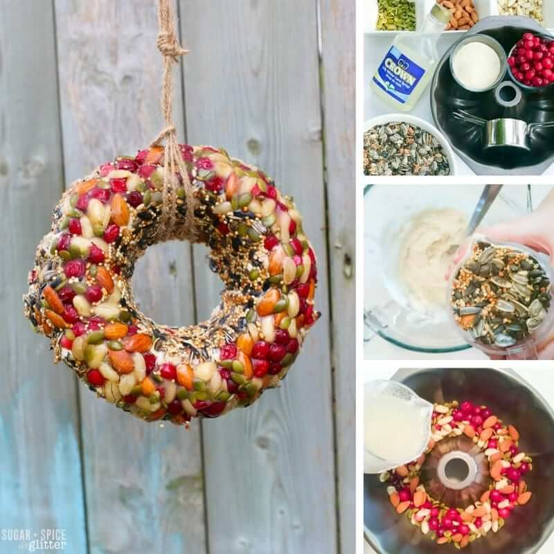 How to make an easy bird feeder wreath with kids