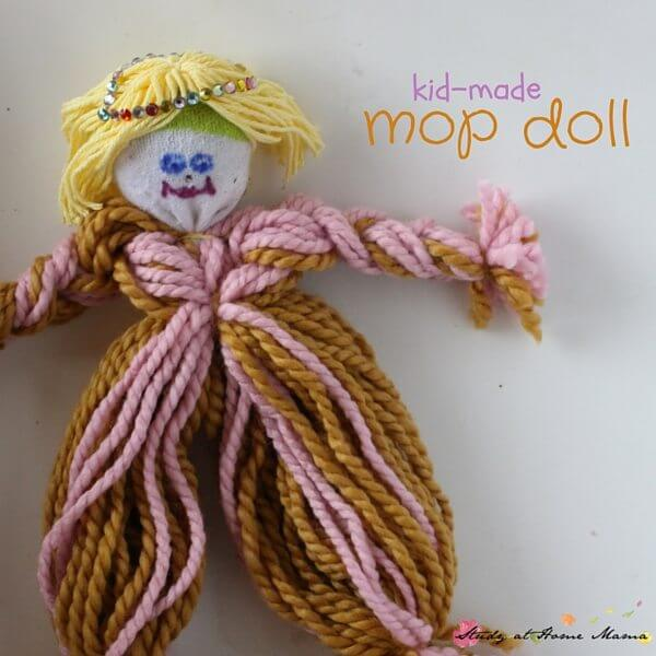 Cute kid-made mop doll - an easy independent craft for elementary-aged children