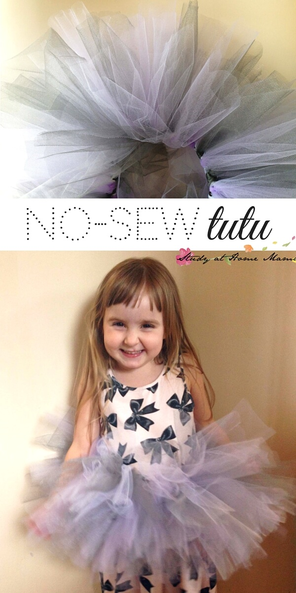 No-Sew Tutu, an easy homemade tutu for your little ballerina. Make this easy DIY costume in less than 10 minutes.