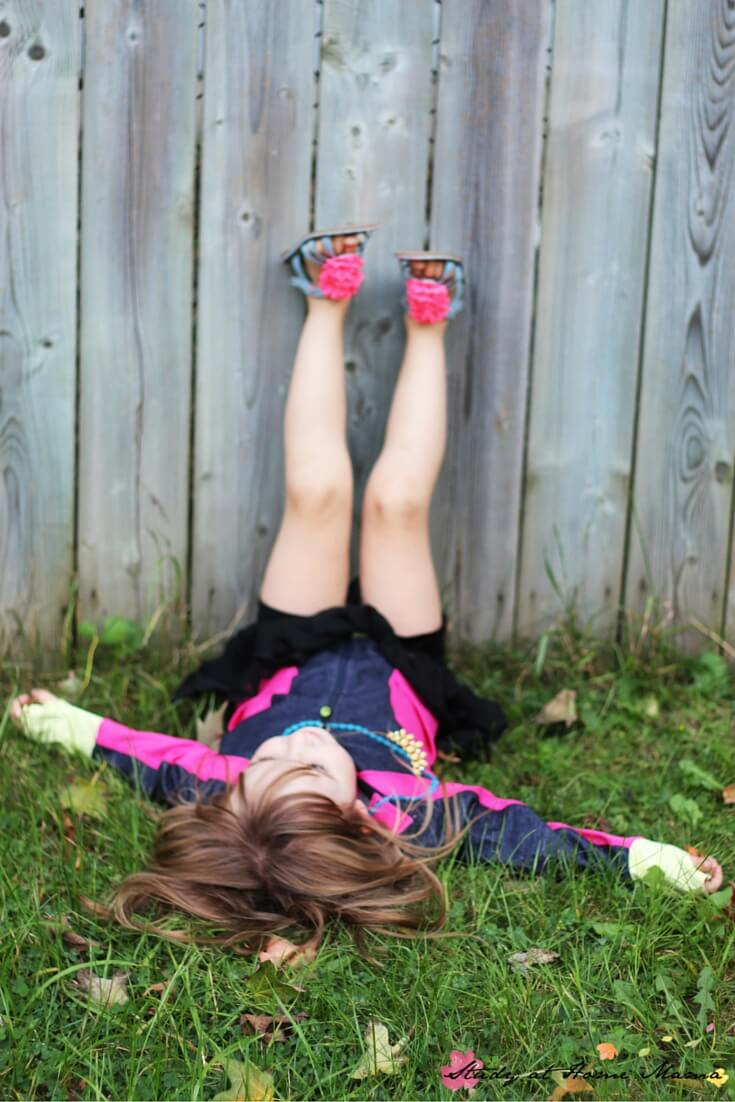 Legs up the wall is a great stretching activity for kids
