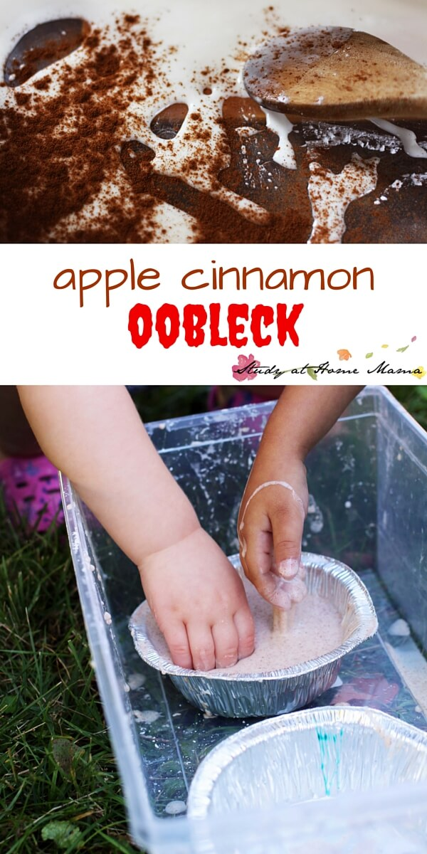 Apple Cinnamon Oobleck is a wonderful sensory activity for kids that encourages them to use creative problem solving skills while interacting with a non-Newtonian fluid. Oobleck is a wonderful sensory play idea for ages 2 and up.
