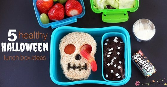 5 Healthy Halloween Lunch Box Ideas - everything from make-ahead lunches, to options to help fill out pizza day. 5 Spooky and Healthy Lunches your kids will love