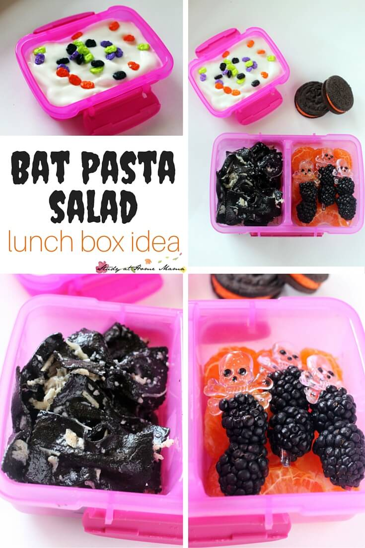 Bat Pasta Salad Lunch Box idea - using delicious squid ink pasta to make a spooky yet healthy Halloween lunch for kids. One of five healthy Halloween lunch box ideas