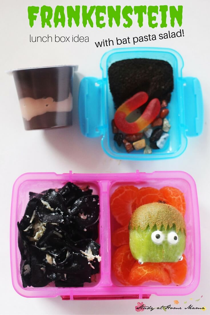Frankenstein lunch box idea with a bat pasta salad and worm and dirt pudding. One of five healthy Halloween lunch box ideas
