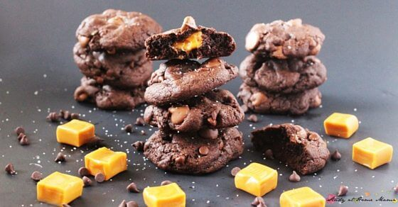 Moist, double chocolate cookies with an ooey gooey caramel center, these look amazing - yum!