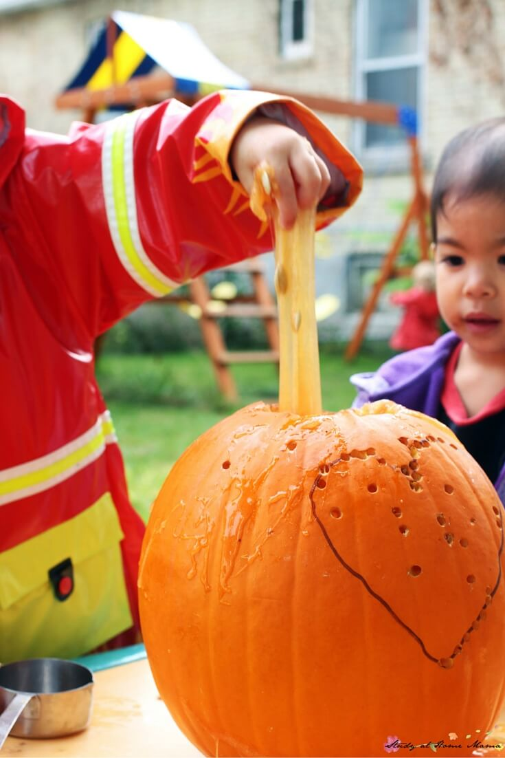Kids just love squishing and stretching pumpkin seed slime - and it's even better coming out of a pumpkin!