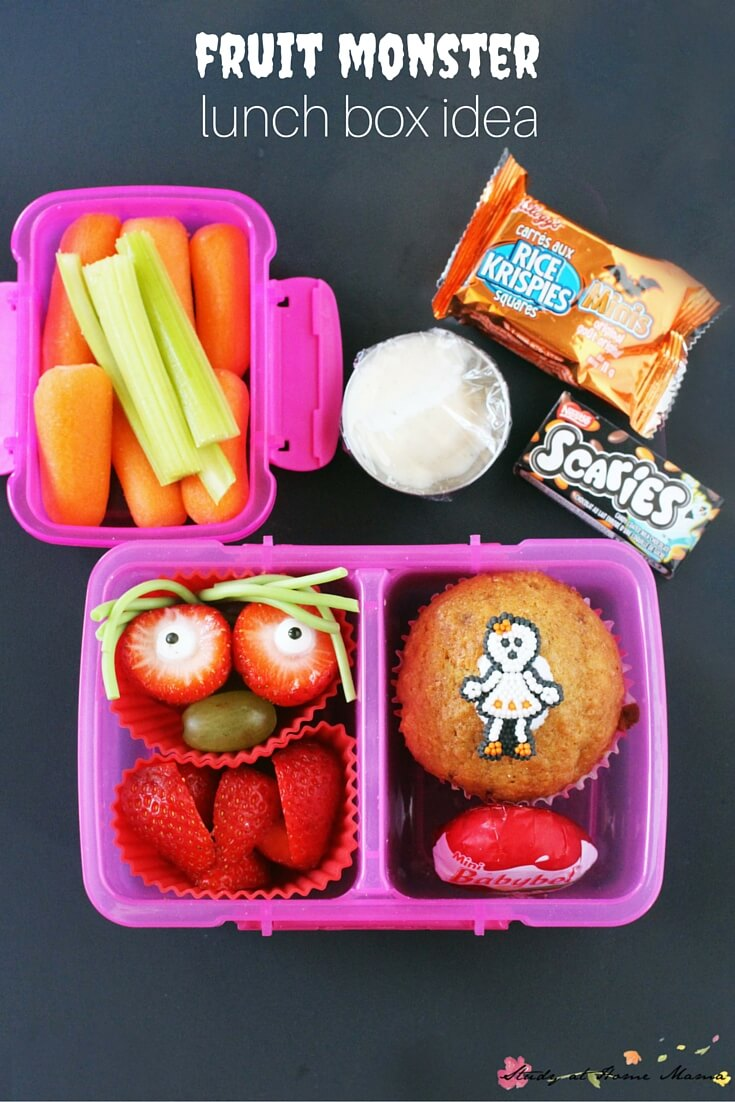Fruit Monster Lunch Box Idea - a fun idea for Halloween or anytime. Fruit monsters are timeless! One of five healthy Halloween lunch box ideas
