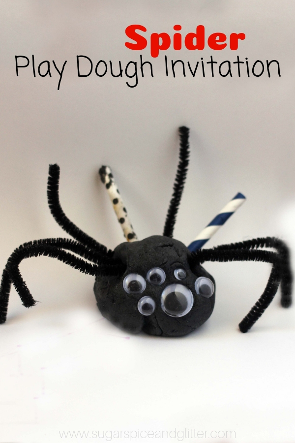 Learn how to make black play dough for this super simple spider play dough invitation, one of the best halloween play dough ideas around