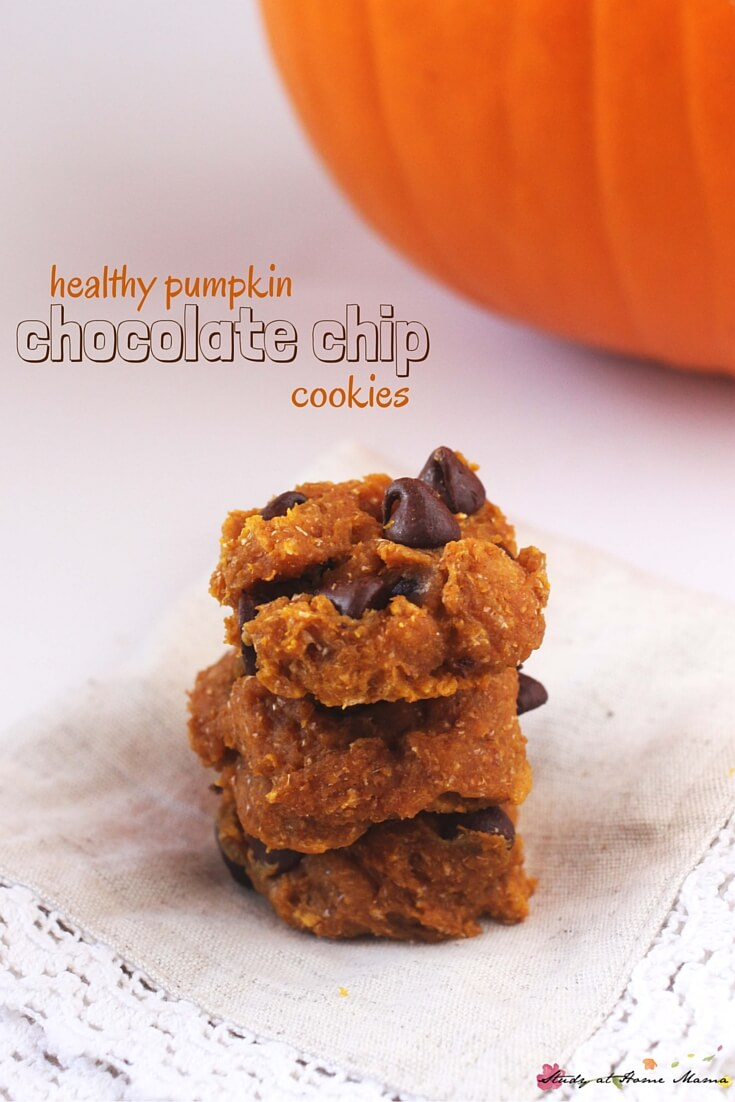 Oh yum! These healthy pumpkin chocolate chip cookies are delicious, with browned butter and a hint of sea salt, while staying healthy with whole wheat flour, no white sugar, and real pumpkin. An easy kids' kitchen recipe for the pumpkin fan in your home