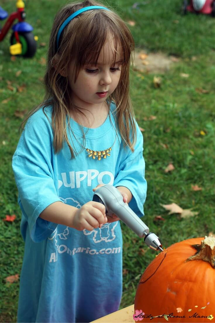 What an awesome fall activity for kids - pumpkin drilling! A creative twist on carving pumpkins, using a manual drill that's small and easy for their hands