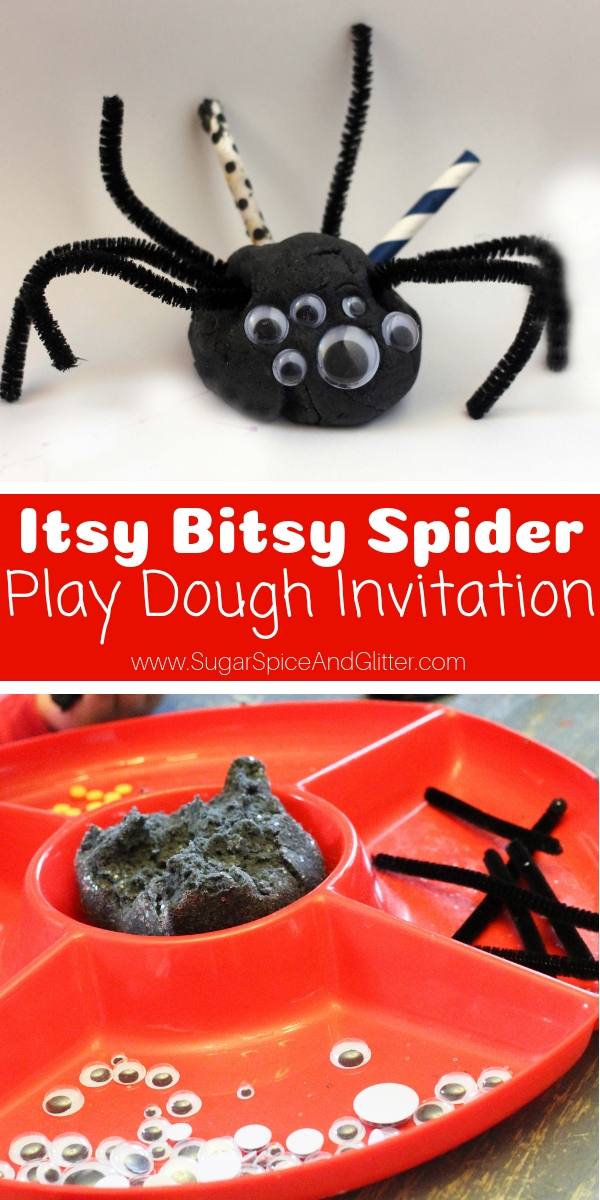 A super simple spider sensory play idea, this Spider Play Dough Invitation features homemade black play dough and is perfect for after reading one of your favorite spider books!