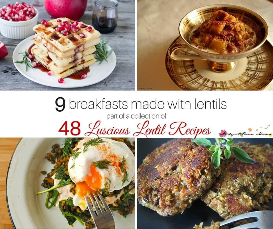 9 lentil breakfast recipes - part of a collection of 48 easy healthy lentil recipes. Lentil breakfast ideas like lentil waffles will blow your mind!