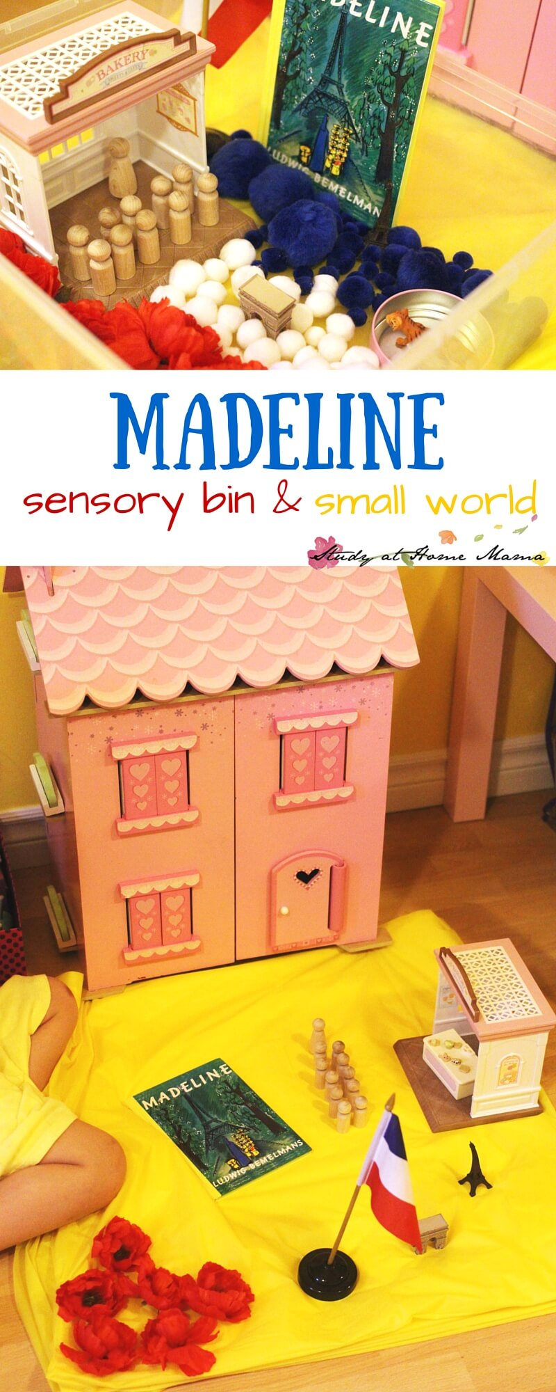 Madeline sensory bin and small world set-up. Read Madeline to your child as they engage in either of these fun sensory activities for kids, learning about French culture and incorporating a bit of math into the fun. Perfect for a Madeline unit study