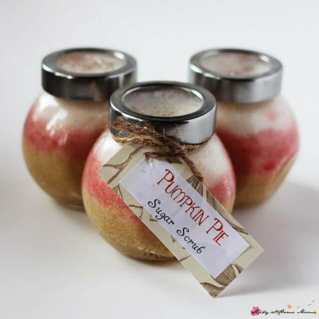 Homemade Pumpkin Pie Sugar Scrub, freshen up for the holidays with this deliciously-scented homemade gift. A gift kids can make independently, with just a little bit of supervision