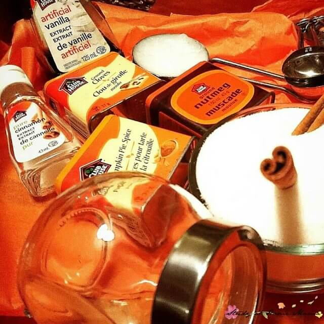 Ingredients for kids to make their own pumpkin pie sugar scrubs