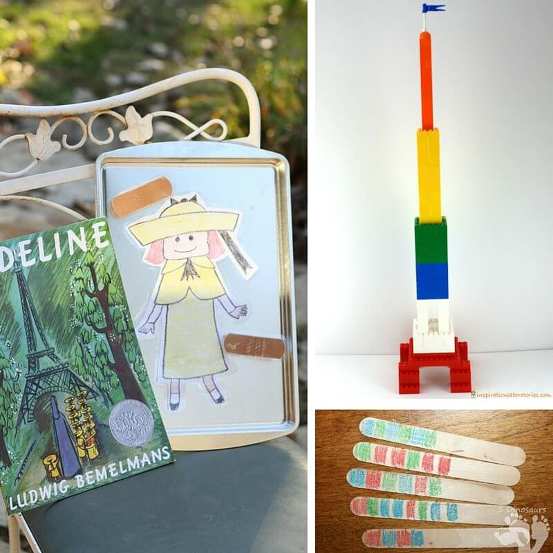 STEAM activities inspired by the classic children's book, Madeline. From L to R, identifying body parts, building the Eiffel Tower, and patterning with craft sticks