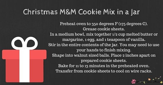 Christmas M&M Cookie Mix in a Jar Christmas Tag