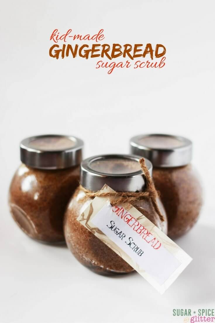 Gingerbread sugar scrub, a delicious smelling homemade gift for the holidays. Pamper yourself or your friends with this easy homemade sugar scrub that smells good enough to eat!