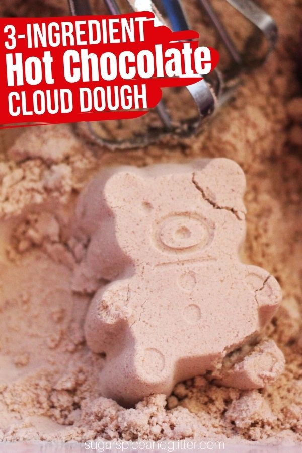 A fun sensory bin for winter, this 3-ingredient Hot Chocolate Cloud Dough is an amazing sensory activity for kids. (You can also make it with just flour and oil.)