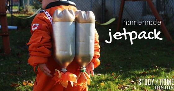 Easy homemade jetpack toy that kids can make. The perfect homemade toy for your budding astronaut that can be whipped together with a few recyclables!