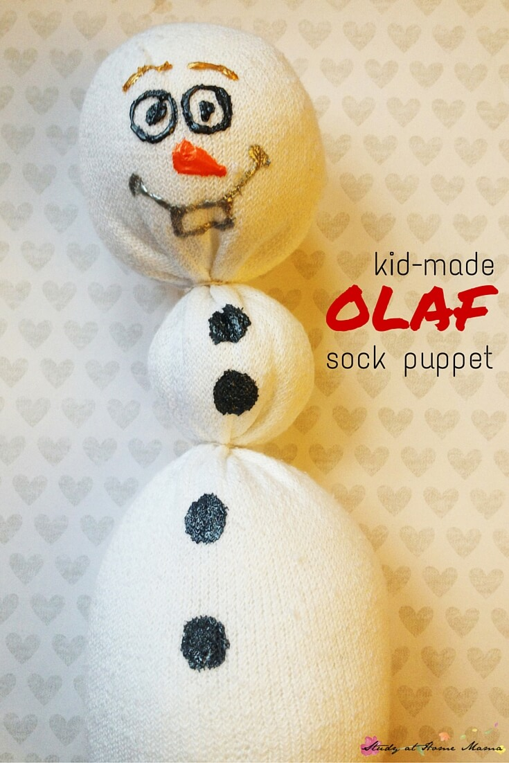 Frozen kids' craft idea: Olaf Sock Puppet, made for less than $1 each! These Olaf sock dolls make excellent snuggle buddies, or gifts for the Frozen fan in your home!