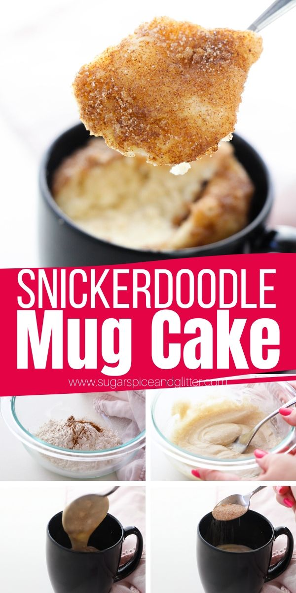 How to make a snickerdoodle mug cake in just 3 minutes! An easy, egg-free mug cake that tastes just like a snickerdoodle cookie, a warm, fluffy cinnamon-sugar cake with a crunchy cinnamon-sugar topping