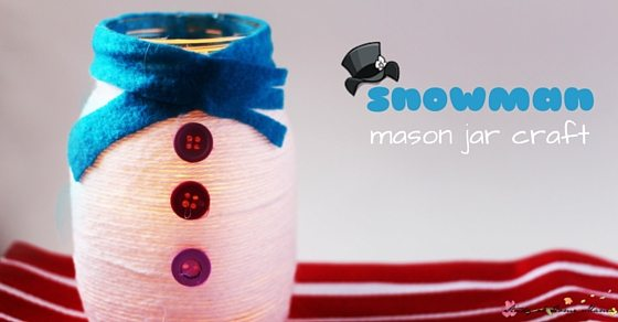 Snowman Mason Jar Craft - a simple kids craft idea that would make a gorgeous homemade gift or Christmas decoration