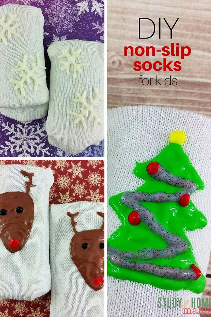 Make your very own non-slip socks with this easy tutorial for DIY Non-Slip Socks for Kids. Avoid the bumps and bruises that come with slippery floors and winter weather. Easy puffy paint designs and custom kids clothes on Study At Home Mama.