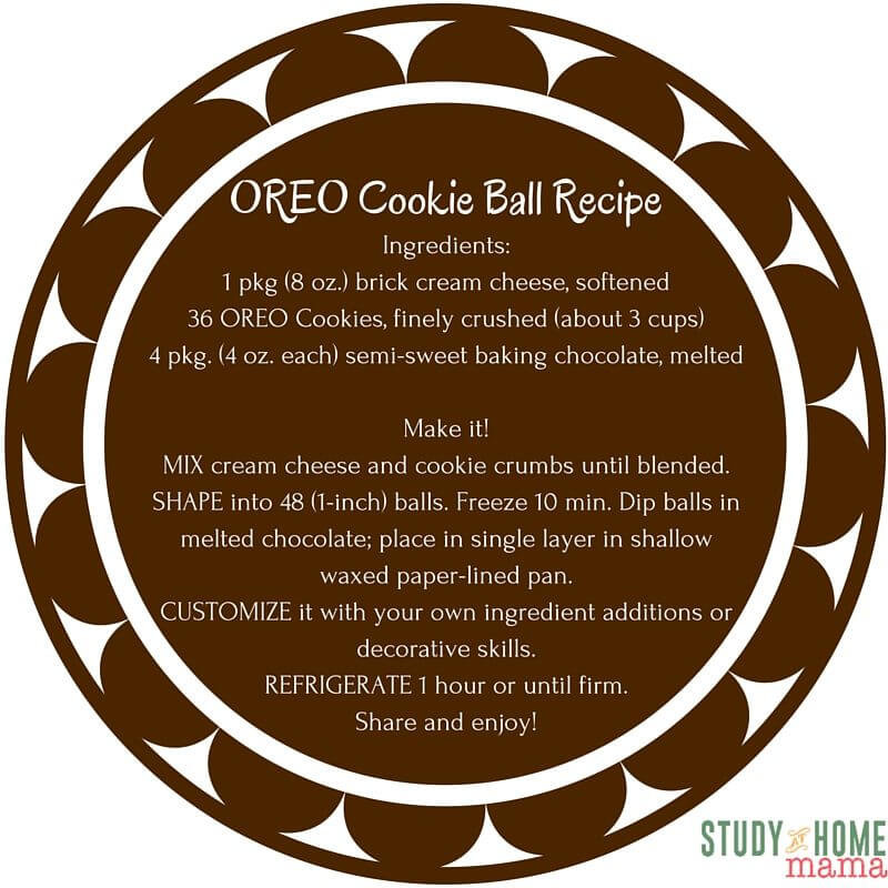 Oreo Cookie Ball Recipe Printable - perfect to use as a gift tag along with a box of OREO cookies