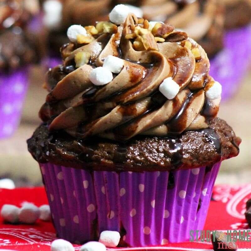 Creamy, homemade frosting with the perfect rocky road mix everyone loves makes these Rocky Road Cupcakes a crowd pleaser. And the presentation has the wow factor you will love!
