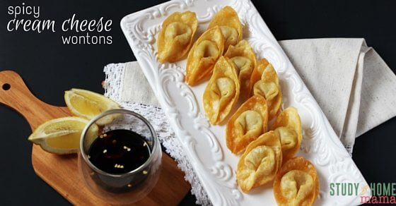 Spicy Cream Chese wontons with dipping sauce - an easy fried appetizer you can make at home
