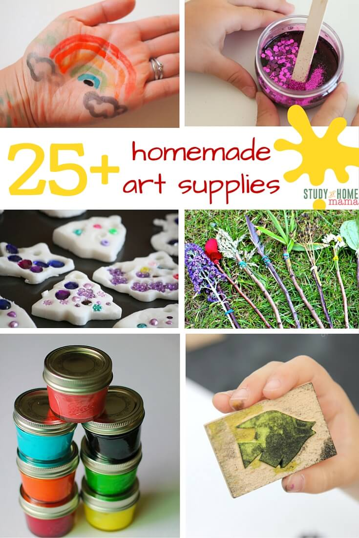25+ Homemade Art Supplies - easy homemade paint recipes, homemade play doughs, and more!