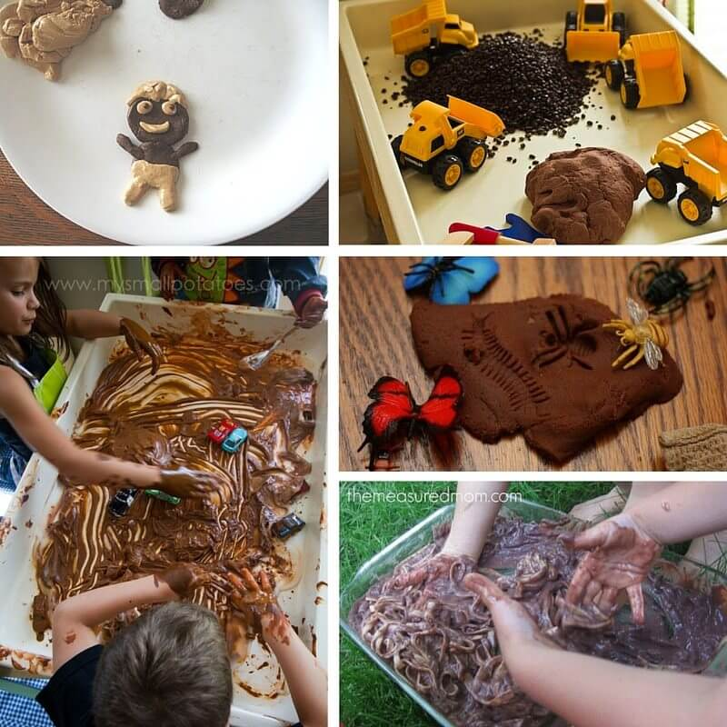 Fun Chocolate Sensory Play Ideas for Kids - from chocolate play dough to edible chocolate worm play!