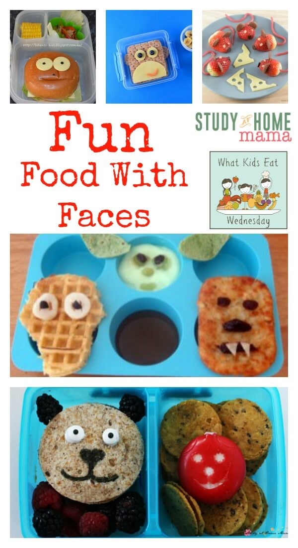 Yummy food ideas sure to make your kids smile. Fun Food with Faces from Study At Home Mama bring wonderful inspiration for your lunch box and your kids lunch.