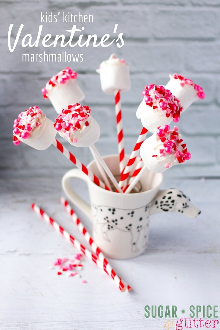 Kids Kitchen Valentine's Day Marsmallows Recipe - the perfect easy recipe for kids to make, and it can be customized for any occasion! A sweet homemade Valentine's Day dessert kids can make