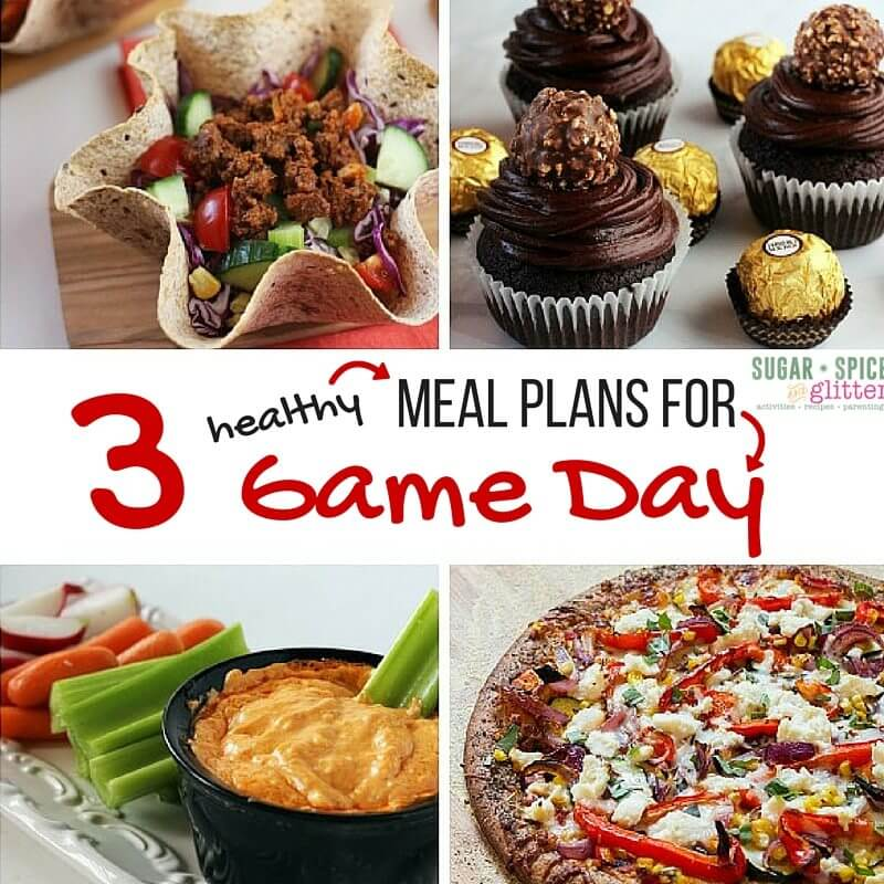 3 HEALTHY Game Day food meal plans. Keep a balanced day with healthy breakfast and lunch ideas then fun a bit of fun with these football party foods. Free meal plan printables and grocery shopping lists.