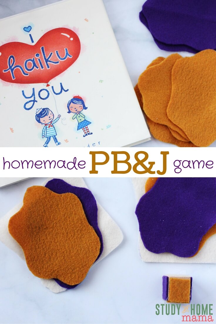 PBJ Homemade Game - an easy game for beginners that you can make at home! Doubles as a set of homemade felt food - and the rules of the game are easy for kids to remember.