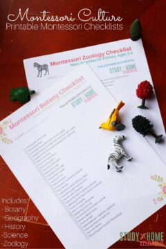 Montessori Culture 3-6 Checklists