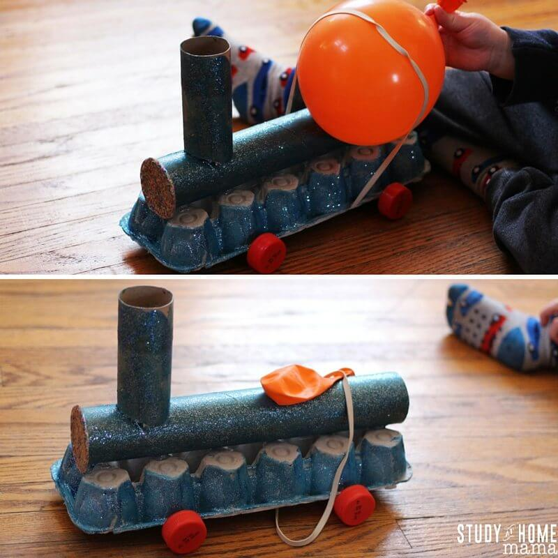 The Balloon-Powered Train: a great STEAM activity - make a train craft and use a balloon to actually make it move!