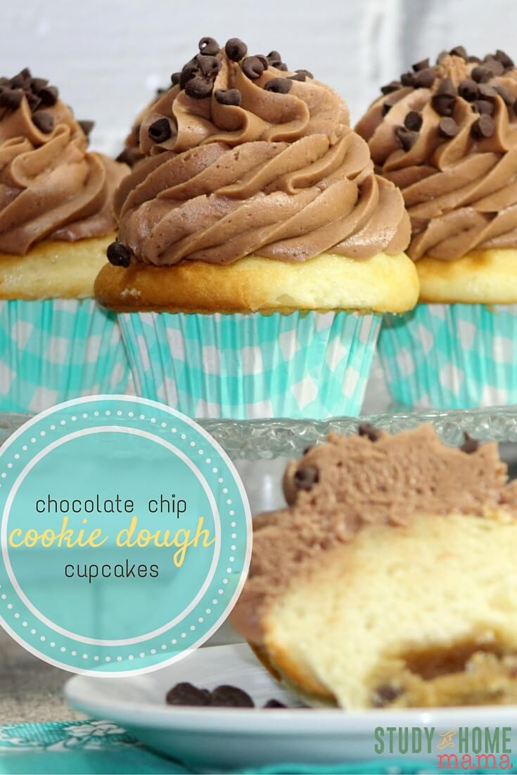 Chocolate Chip Cookie Dough Cupcakes use simple ingredients and have a quick bake time. You'll have not excuses to bring an easy dessert to the next meeting. Or make a dozen for easy cupcakes at home! Find more yummy cupcake ideas on Study At Home Mama.