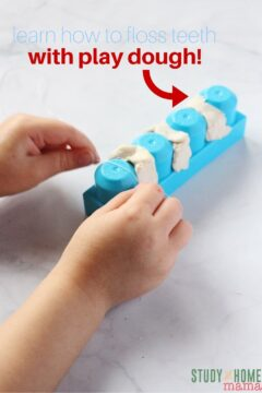 Teach Children to Floss Teeth with Play Dough!