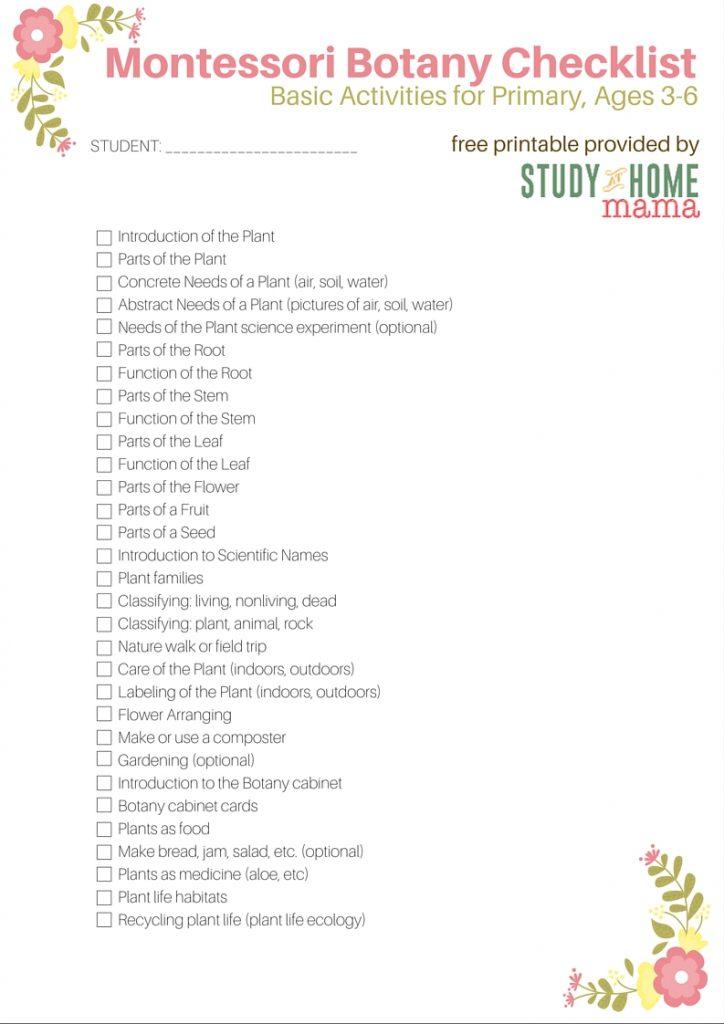 Montessori Botany Checklist for Primary Montessori Homeschool