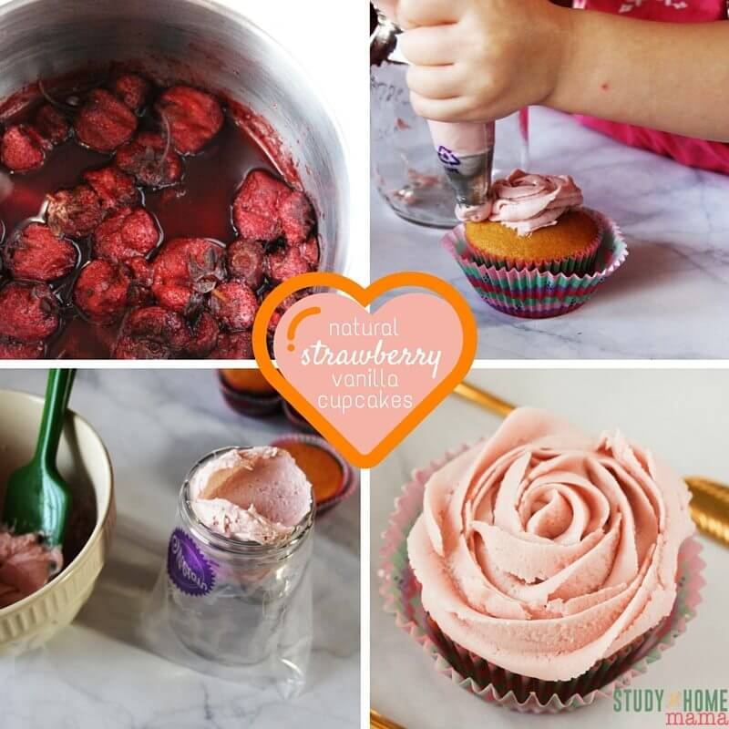 How to make Natural Strawberry Frosting and the best Vanilla Cupcakes ever. A cute rose design with the pink frosting is the perfect finishing touch