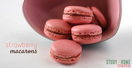 Don't miss out on these delicious Stawberry Macarons with their airy, chewy texture inside with a soft crunch exterior. Perfect to make for the love in our life or share them with your kids! Study At Home Mama has special tips to make these yummy macarons turn out just perfect.