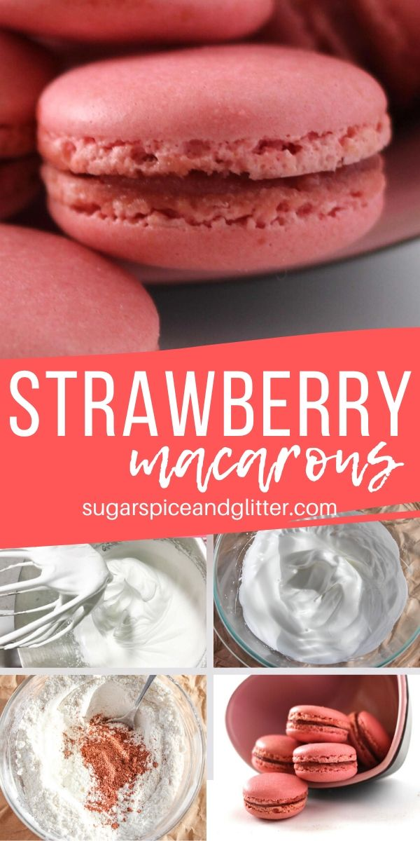 The best and easiest Strawberry Macaron recipe - crispy shell, chewy interior and perfect little feet! These macarons have been made over 20,000 times with amazing success! The perfect first macaron recipe