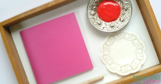 Doily painting for a simple Valentine's Day Art Activity